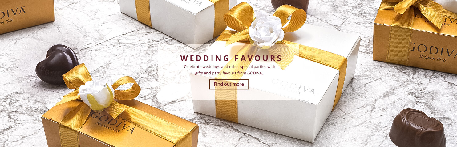 Celebrate weddings and other special parties with gifts and party favours from Godiva