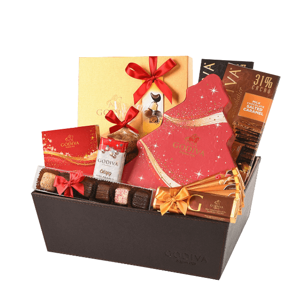Godiva Deluxe Milk & Dark Chocolate Christmas Gift Basket
