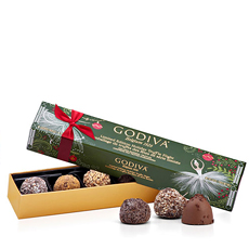 An exclusive and festive truffle box, assorted with 6 delicious truffles.