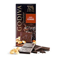 Godiva Tablet Dark Chocolate 72% Almond, 100 g