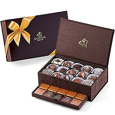 To give a truly wonderful chocolate gift, Godiva offers its beautiful keepsake gift box. Godiva`s Royal Boxes are brimming with Godiva`s amazing array of delicious chocolates and tantalizing carrés.
