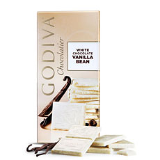 Godiva's heavenly white chocolate is infused with vanilla from the highest quality whole vanilla beans in a generously sized tablet.