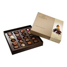 This assortment is presented in a luxurious pearlized Platinum box in which the chocolates are the heroes.