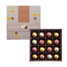 An exclusive gift box with modern design and individually wrapped chocolates perfect to be enjoyed in every day life.