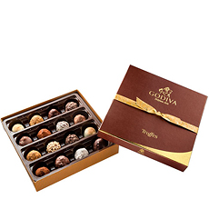 Go on a journey through white, milk and dark chocolate truffles of the finest Godiva quality.
