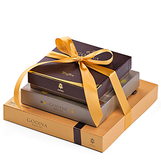 This sophisticated gift features an exceptional assortment of the most beloved Godiva chocolate pralines, ganaches, truffles, caramels and bonbons.