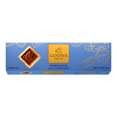 A traditional European biscuit topped with a square of smooth milk chocolate that is signature-imprinted with the legendary Lady Godiva. The perfect balance of cookie and chocolate. Enjoy the crispier side of decadence.