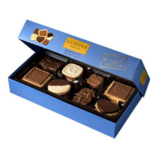 An assortment of delicate, crisp, smooth, and intense Godiva chocolate biscuits. Each biscuit is elegantly presented in Godiva giftbox and offers the perfect balance of cookie and chocolate. Enjoy the crispier side of decadence.