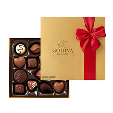 Godiva Gold Rigid Box with Red Ribbon, 14 Chocolates