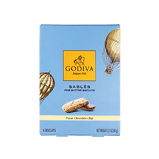 Godiva Pecan Chocolate Chip Sablés Biscuits, 60 g