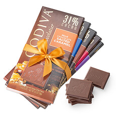 Discover the world of Godiva in 5 milk and dark chocolate tablets.