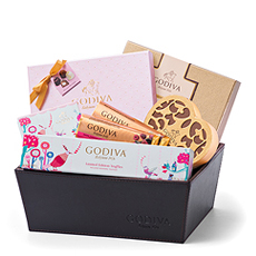 Surprise your beloved with this luscious Godiva chocolate gift featuring limited-edition truffles, heart shaped chocolates, gourmet pralines, and so much more.