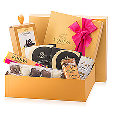 This golden gift set is filled with a beautiful collection of Godiva�s best Belgian chocolates.