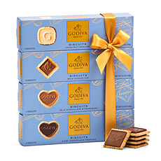 The ultimate gift for Godiva biscuit lovers: 4 flavors of Godiva signature biscuits enrobed in Belgian chocolate.