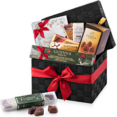 Discover Godiva's large woven Christmas gift hamper filled with the best Belgian chocolates. From delectable chocolate truffles to pralines to bars and Pearls, this gift offers everything a Godiva fan wants for Christmas 2016.