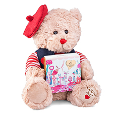 Add ultimate awww-factor to your Valentine`s gift with this adorable plush bear.