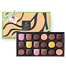 Introducing the spectacular new Godiva Icônes d'Or collection! Discover all of the exhilarating new chocolate flavors in this vibrant 18 piece gift box.