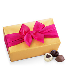 Godiva Gold Ballotin with Fuchsia Ribbon