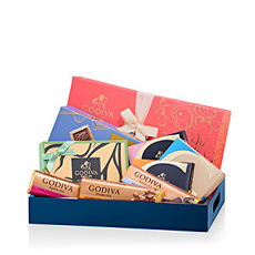 Spread some joy with this colorful gift featuring the most delicious Godiva chocolate! Delight in this wonderful collection of milk, dark, and white chocolates with elegant hints of salted caramel, raspberry, orange & ginger, and more.