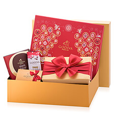 Christmas 2017 will sparkle with this joyful Godiva Christmas chocolate gift in a golden gift box! This fantastic collection of red and gold gift boxes with the best Godiva chocolate is a wonderful holiday gift for friends, family, and colleagues in Europe.