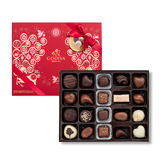 This finely balanced and sumptuous selection of 20 Godiva chocolates in a Christmas 2017 gift box will enhance a sense of indulgence during this special time of year.