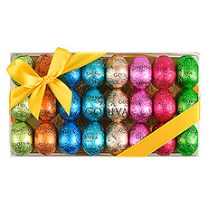 A delicious spring treat filled with 24 small foil-wrapped chocolate Easter eggs by Godiva.