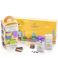 Celebrate summer occasions with the new Wonderful City Dreams collection by Godiva. This special gift set includes the limited-edition Wonderful City Dreams gift box, classic Napolitains, and white & dark chocolate Mini Pearls.