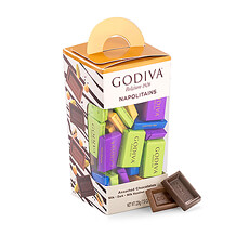 Godiva's ever-popular Napolitains have a fresh new look for 2018 in brightly colored wrappers.