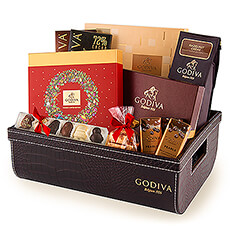 Make a good impression this year with this prestigious Godiva Christmas chocolate croco gift basket. Treat friends, family, and customers to an irresistible chocolate assortment.