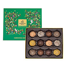 An exclusively stylish gift, containing 12 of our finest truffles as a festive selection, perfectly to enjoy during the holidays.