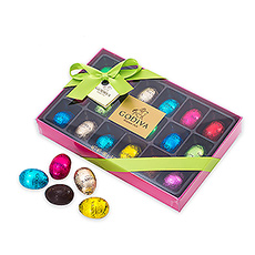 A delicious Easter treat filled with 18 Godiva foil-wrapped mini chocolate eggs.