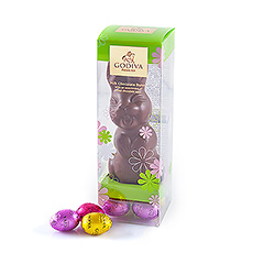 This smiling Easter bunny in milk chocolate is a nice treat for both young and old.