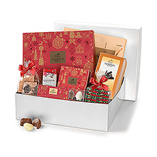Wish the best Seasons Greetings with this lovely Godiva holiday chocolate gift hamper.