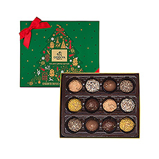 This box offers 12 handmade truffles, in white, dark and milk chocolate.