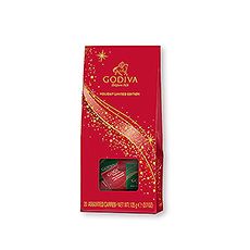 This festive gift pouch offers 20 individually wrapped chocolate carrés in seasonal red and green wrappers.
