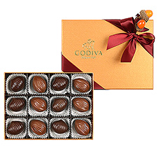 Fall Gold Gift Box with Chestnut and Walnut Chocolates, 12 pcs
