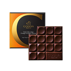 Godiva Tablette Chocolat Noir L'Orange Aromatise Au Gingembre, 75 g