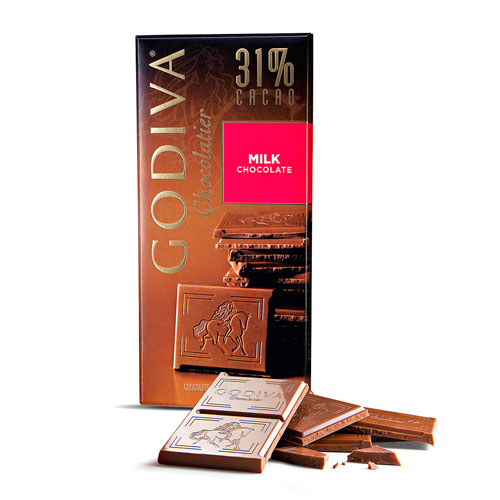 Tableta Godiva Chocolate con Leche al 31%, 100 g