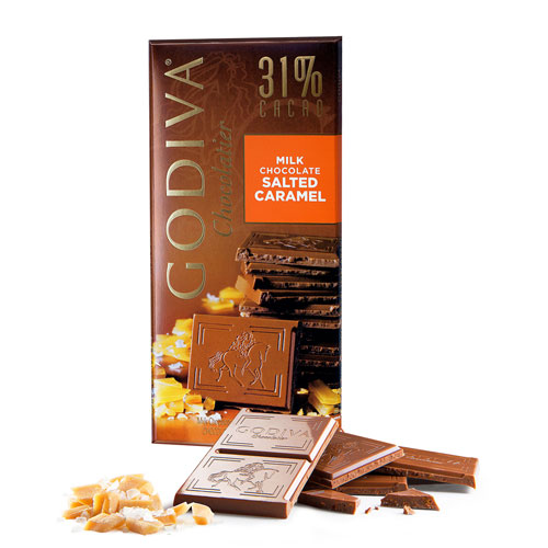 Godiva Tablet Milk Chocolate 31% Salted Caramel, 100 g