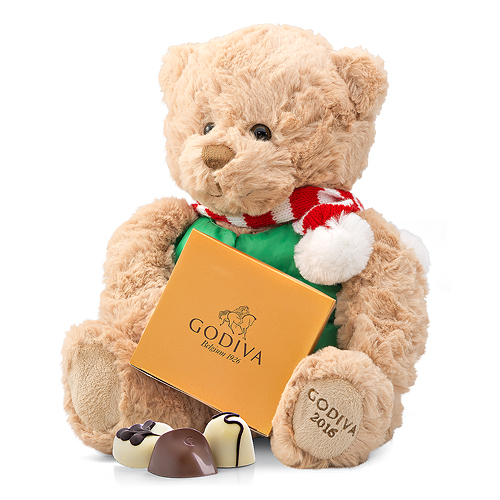 Godiva Adorable Christmas Teddy Bear with Chocolates