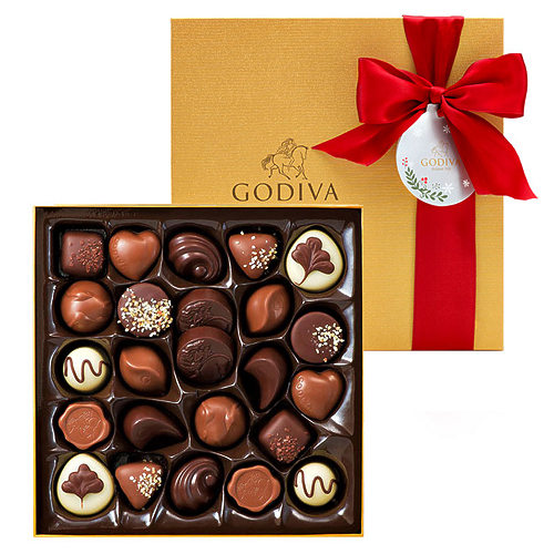 Godiva Christmas Decorated Gold Box, 24 pcs