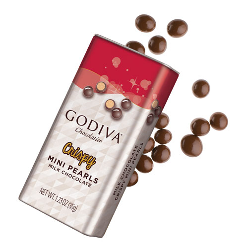 Godiva Crispy Mini Pearls Milk Chocolate, 35 g
