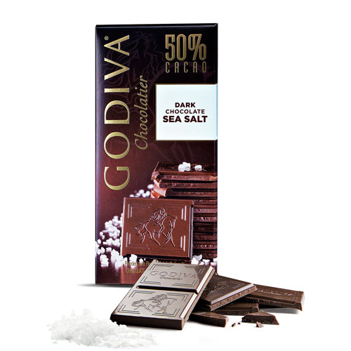 Tableta Godiva Chocolate Oscuro al 50% y Sal de Mar, 100 g