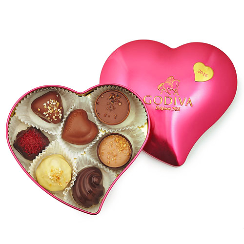 Godiva Tin Heart 7pc