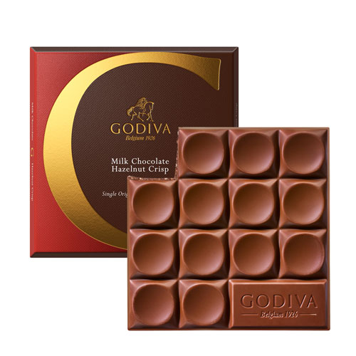 Tableta Godiva Chocolate con Leche y Avellana, 75 g