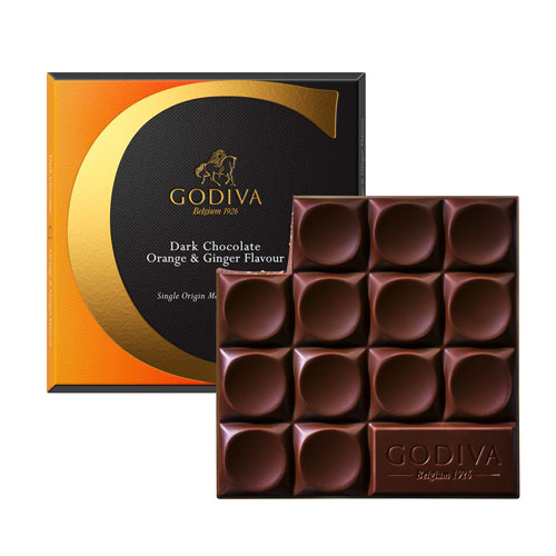 Godiva Tablette Chocolat Noir L'Orange & Gingembre, 75 g