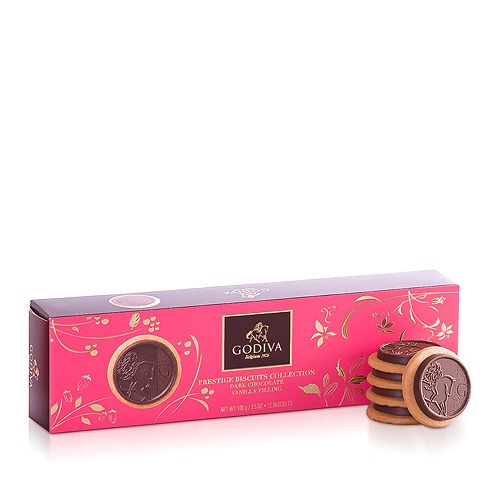 Godiva Prestige Biscuits Dark Chocolate Vanilla, 100 g