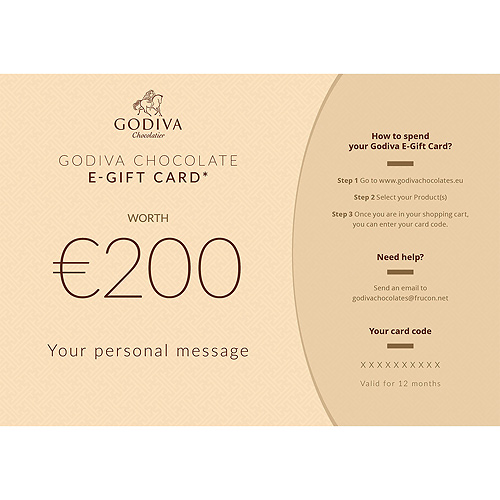 Godiva Chocolate E-Gift Card : 200 Euro