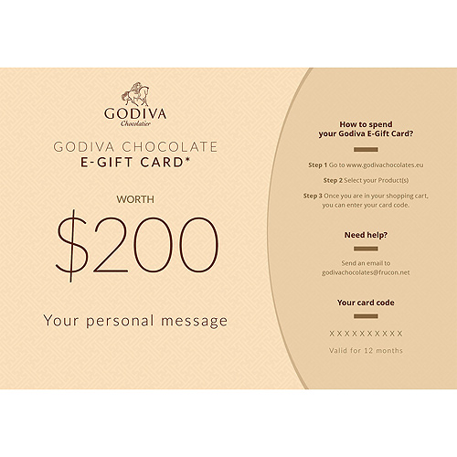 Godiva Chocolate E-Gift Card : 200 Dollar
