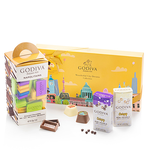 Godiva Wonderful City Dreams, Napolitains & Chocolate Pearls